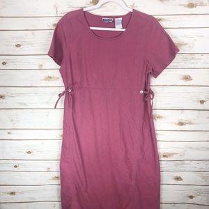 Erika & Co Petite Linen Maxi Raspberry Dress
